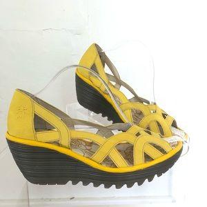 Fly London open toe wedge slip on shoes Sz 9